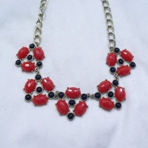 Red and Blue Stones Statement Necklace